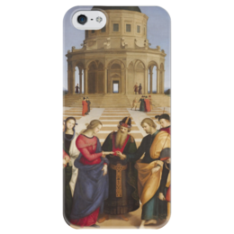 """Чехол для iPhone 5 глянцевый, с полной запечаткой """"Обручение Девы Марии (картина Рафаэля)"""" - картина, рафаэль"""