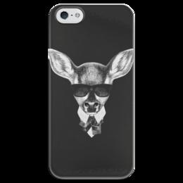 """Чехол для iPhone 5 глянцевый, с полной запечаткой """"Черно-белый Кенгуру"""" - арт, животные, стиль, рисунок, кенгуру"""