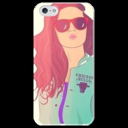 """Чехол для iPhone 5 глянцевый, с полной запечаткой """"Стильная девушка"""" - девушка, стильный, gta v, chicago bulls"""