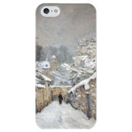 """Чехол для iPhone 5 глянцевый, с полной запечаткой """"Снег в Лувесьене"""" - картина, сислей"""