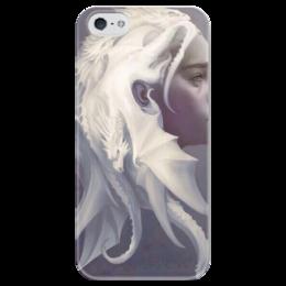 """Чехол для iPhone 5 глянцевый, с полной запечаткой """"Дейенерис Таргариен """" - сериал, драконы, игра престолов, таргариен"""