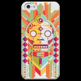 """Чехол для iPhone 5 глянцевый, с полной запечаткой """"Indian Skull"""" - череп, этно, индейцы"""