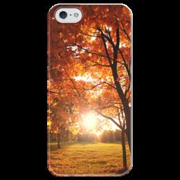 """Чехол для iPhone 5 глянцевый, с полной запечаткой """"Золотая осень """" - листья, осень, природа, закат, autumn, золотаяосень"""