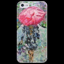 """Чехол для iPhone 5 глянцевый, с полной запечаткой """"Запах дождя"""" - девушка, настроение, сирень, дождливое"""