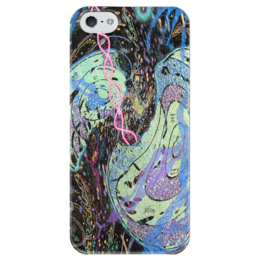 """Чехол для iPhone 5 глянцевый, с полной запечаткой """"Зарождение вселенной"""" - арт, рисунок, любовь"""