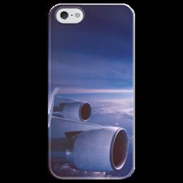 """Чехол для iPhone 5 глянцевый, с полной запечаткой """"Самолет"""" - небо, самолет, самолеты, красивое небо, вид из самолета"""