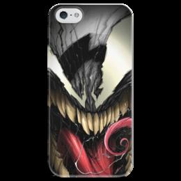 """Чехол для iPhone 5 глянцевый, с полной запечаткой """"Веном (Venom)"""" - комиксы, venom, spider man, марвел, человек-паук"""