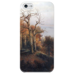 """Чехол для iPhone 5 глянцевый, с полной запечаткой """"Осенний лес. Кунцево. (Проклятое место)"""" - картина, саврасов"""