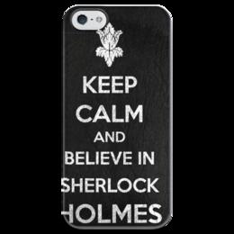 "Чехол для iPhone 5 глянцевый, с полной запечаткой ""Keep calm and believe in sherlock holmes"" - англия, сериал, 2014, bbc, sherlock, moriarty, мориарти, шерлок, британия, drama"