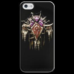 """Чехол для iPhone 5 глянцевый, с полной запечаткой """"Warcraft"""" - война, warcraft, орда, варкрафт, орки"""