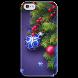 """Чехол для iPhone 5 глянцевый, с полной запечаткой """"Новогоднее настроение"""" - праздник, синий, ёлка, новыйгод, атмосферапраздника"""