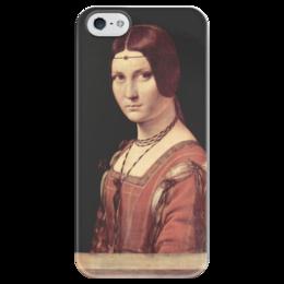 """Чехол для iPhone 5 глянцевый, с полной запечаткой """"Прекрасная Ферроньера"""" - картина, да винчи"""