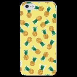 """Чехол для iPhone 5 глянцевый, с полной запечаткой """"Fruity mood"""" - ананасы, арт, лето, фрукты, pineapples"""