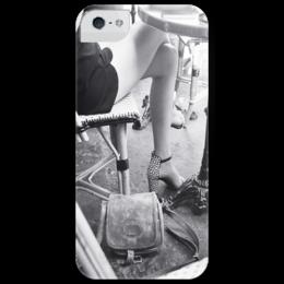 """Чехол для iPhone 5 глянцевый, с полной запечаткой """"Парижское кафе"""" - стиль, style, paris, spring, café"""