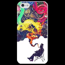 """Чехол для iPhone 5 глянцевый, с полной запечаткой """"Креатив"""" - человек, рисунки, дым, стул, креативное мышление"""