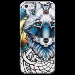 """Чехол для iPhone 5 глянцевый, с полной запечаткой """"Behind Blue Eyes"""" - арт, wolf, волк, dream catcher"""