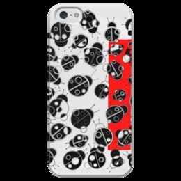 """Чехол для iPhone 5 глянцевый, с полной запечаткой """"Коровушка"""" - лето, графика, круги, насекомые"""