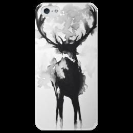 """Чехол для iPhone 5 глянцевый, с полной запечаткой """"Олень"""" - животные, арт, олень, dear"""