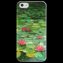 """Чехол для iPhone 5 глянцевый, с полной запечаткой """"Пруд с кувшинками"""" - пруд, кувшинки"""