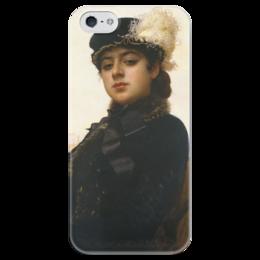 """Чехол для iPhone 5 глянцевый, с полной запечаткой """"Неизвестная (картина Крамского)"""" - картина, крамской"""