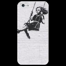"""Чехол для iPhone 5 глянцевый, с полной запечаткой """"Стена. Бэнкси. Banksy"""" - белый, черный, рисунок, лондон, стена, banksy, бэнкси, качели"""