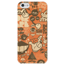 "Чехол для iPhone 5 глянцевый, с полной запечаткой ""Blood Sweat Vector"" - стикер-арт, sticker bombing, sticker art, коллаж"