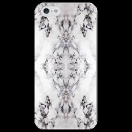 """Чехол для iPhone 5 глянцевый, с полной запечаткой """"Мраморная геометрия"""" - серый, белый, черный"""