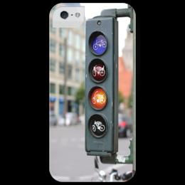 """Чехол для iPhone 5 глянцевый, с полной запечаткой """"велосипед"""" - city, biking"""