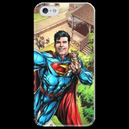 """Чехол для iPhone 5 глянцевый, с полной запечаткой """"Супермен (Superman)"""" - комиксы, dc, dc comics, супс"""
