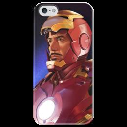 """Чехол для iPhone 5 глянцевый, с полной запечаткой """"Супергерои: Железный человек"""" - комиксы, фантастика, супергерои, iron man, суперзлодеи"""