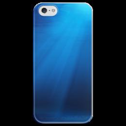 """Чехол для iPhone 5 глянцевый, с полной запечаткой """"Подводный мир"""" - вода, свет, океан, лучи, глубина"""