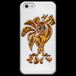 """Чехол для iPhone 5 глянцевый, с полной запечаткой """"New 2017 Gold Fire"""" - новый год, петух, 2017, символ 2017, огненный петух"""