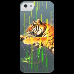 """Чехол для iPhone 5 глянцевый, с полной запечаткой """"tiger"""" - арт, в подарок, девушке, парню, tiger, тигр, китай, киберпанк, карате, кунг-фу"""