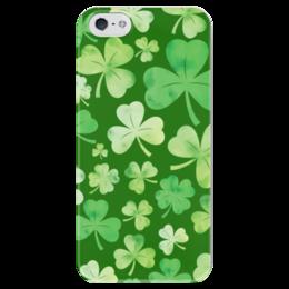 """Чехол для iPhone 5 глянцевый, с полной запечаткой """"День святого Патрика"""" - клевер, ирландия, текстура, день святого патрика"""