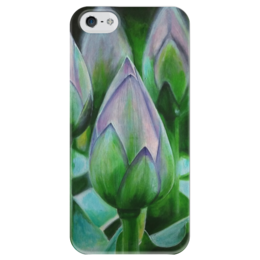 """Чехол для iPhone 5 глянцевый, с полной запечаткой """"лотосы"""" - цветы, рисунок, природа, листья"""