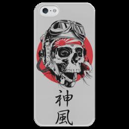 """Чехол для iPhone 5 глянцевый, с полной запечаткой """"Камикадзе"""" - япония, иероглифы, камикадзе, божественный ветер"""