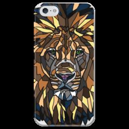 """Чехол для iPhone 5 глянцевый, с полной запечаткой """"львиная морда"""" - лев, lion, зверь, animal"""