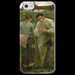 """Чехол для iPhone 5 глянцевый, с полной запечаткой """"Деревенская любовь"""" - картина, бастьен-лепаж"""