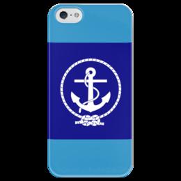 """Чехол для iPhone 5 глянцевый, с полной запечаткой """"Морской разведчик"""" - море, якорь, канат"""
