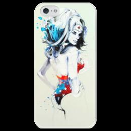 "Чехол для iPhone 5 глянцевый, с полной запечаткой ""Supagirl"" - арт, girl, super, чудо-женщина, wonder woman"