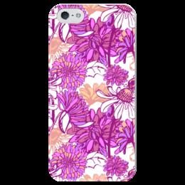 """Чехол для iPhone 5 глянцевый, с полной запечаткой """"Purple blossom"""" - арт, цветы, purple, паттерн"""