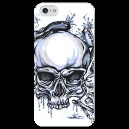 """Чехол для iPhone 5 глянцевый, с полной запечаткой """"череп художник"""" - арт, череп, стиль, рисунок, художник"""