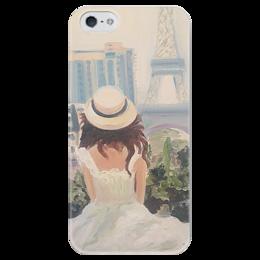 """Чехол для iPhone 5 глянцевый, с полной запечаткой """"Париж"""" - весна, франция, путешествие, париж, paris"""