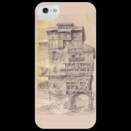 """Чехол для iPhone 5 глянцевый, с полной запечаткой """"Creepy house"""" - арт, house, рисунок, дом, карандаш, ghost house, дом с привидениями"""