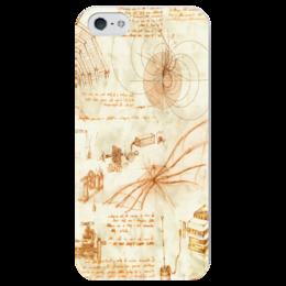 """Чехол для iPhone 5 глянцевый, с полной запечаткой """"Чертежи Леонардо"""" - леонардо да винчи, leonardo da vinci, чертежи"""