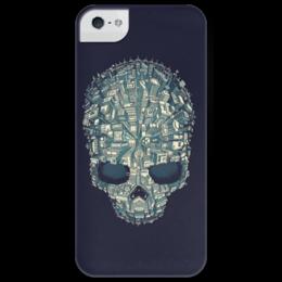 """Чехол для iPhone 5 глянцевый, с полной запечаткой """"Город-череп"""" - skull, city"""