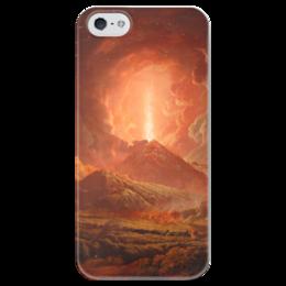 """Чехол для iPhone 5 глянцевый, с полной запечаткой """"Извержение Везувия (картина Райта)"""" - картина, райт"""