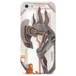 """Чехол для iPhone 5 глянцевый, с полной запечаткой """"Чужой и Котик"""" - кот, юмор, космос, alien, чужой"""