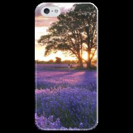 """Чехол для iPhone 5 глянцевый, с полной запечаткой """"Закат на лавандовом поле!"""" - закат, лаванда, прованс, lavender"""