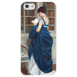 """Чехол для iPhone 5 глянцевый, с полной запечаткой """"Молодая девушка за чтением"""" - картина, тульмуш"""